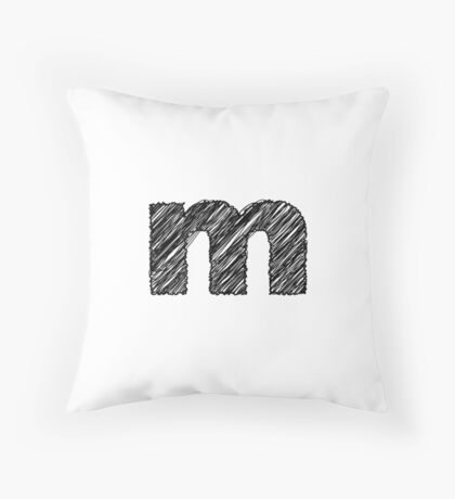 Sketchy Letter Series - Letter M (lowercase) Throw Pillow
