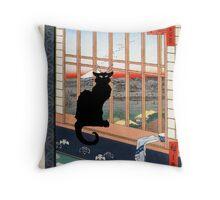 Black Cat at Window Japanese Style Print Throw Pillow