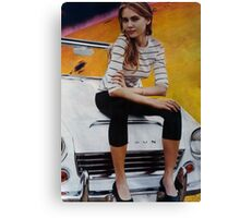 Girl on Yellow Planet Canvas Print