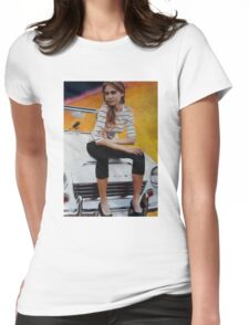 Girl on Yellow Planet Womens Fitted T-Shirt