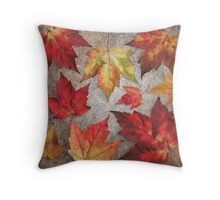 Visions of ruby red, and squash yellow, spell fall Throw Pillow