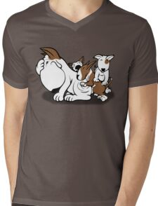 Bull Terrier Puppies with Mum Mens V-Neck T-Shirt
