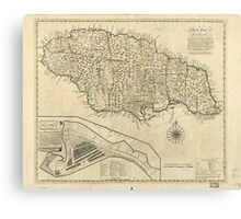 Old Map of Jamaica (1770) Canvas Print