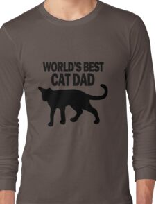 Worlds best cat dad funny geek funny nerd Long Sleeve T-Shirt