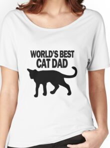 Worlds best cat dad funny geek funny nerd Women's Relaxed Fit T-Shirt