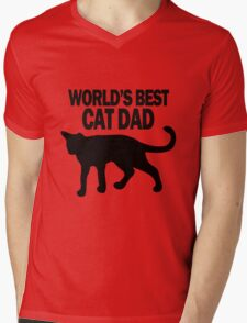 Worlds best cat dad funny geek funny nerd Mens V-Neck T-Shirt