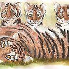 Tiger tiger - watercolour  by davuu