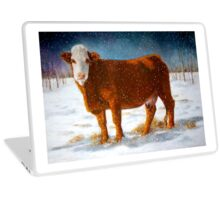 Hereford Beef Cattle in Snow, Oil Pastel Painting Laptop Skin