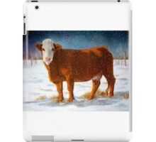 Hereford Beef Cattle in Snow, Oil Pastel Painting iPad Case/Skin