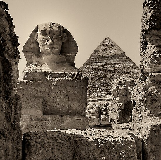 The Great Sphinx and Pyramid of Khafre by Nigel Fletcher-Jones