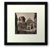 The Great Sphinx and Pyramid of Khafre Framed Print