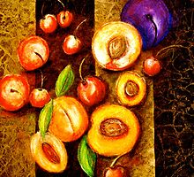 Still Life with, Cherries, Nectarines, Apricots, Peaches and One Plum by ©Janis Zroback