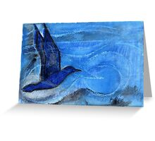Bird Sailing above Blue Landscape Greeting Card