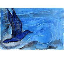 Bird Sailing above Blue Landscape Photographic Print