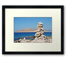 Tower of stones, Halki island Framed Print