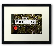 Battery  -  A World of Words Framed Print