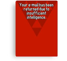 Your e-mail has been returned due to insufficient intelligence. Canvas Print