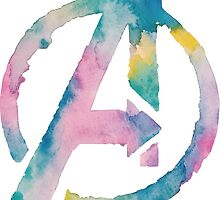 Watercolor Avengers (black) by PeonyPaints