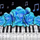 Blue Roses and Piano Keyboard by dreamlyn