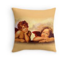 After Raphael: Two Angel Cherubs, Painting Throw Pillow