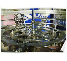 Golden metal cogwheels inside clockwork Poster