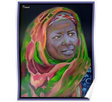African Lady With Colorful Bandanna Poster