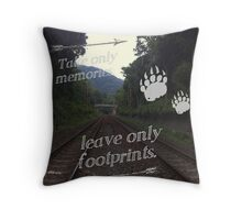 Take Only Memories Leave Only Footprints Throw Pillow