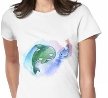 MakoHaru Watercolor Womens Fitted T-Shirt