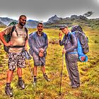 HIKERS AT HERMITS WOOD - DRAKENSBERG by peterupfold
