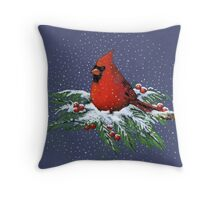 Red Cardinal Bird on Snowy Pine Branches, Christmas Throw Pillow
