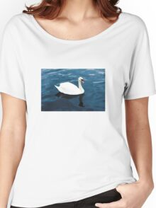 White swan on blue lake Women's Relaxed Fit T-Shirt