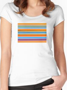 Colorful Striped Seamless Pattern Women's Fitted Scoop T-Shirt