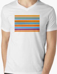 Colorful Striped Seamless Pattern Mens V-Neck T-Shirt