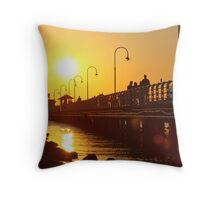 Distant Sun - St Kilda pier Throw Pillow