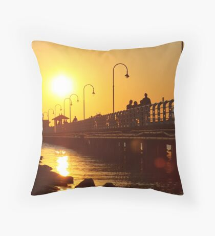Distant Sun - St Kilda pier Throw Pillow