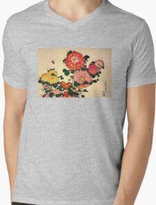 'Chrysanthemum and Bee' by Katsushika Hokusai (Reproduction) Mens V-Neck T-Shirt