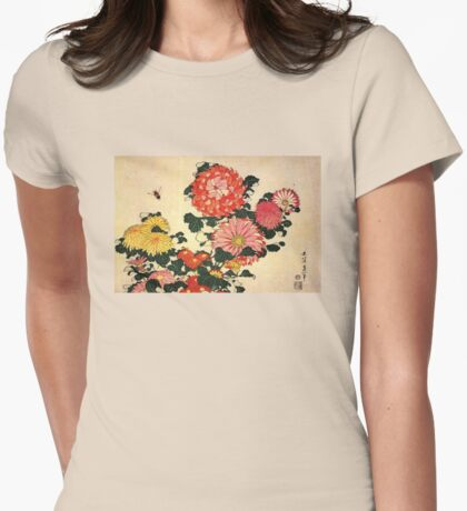'Chrysanthemum and Bee' by Katsushika Hokusai (Reproduction) Womens Fitted T-Shirt