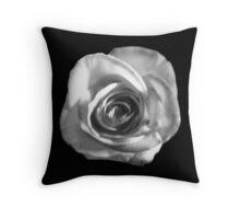 Snow White Rose on Black Throw Pillow