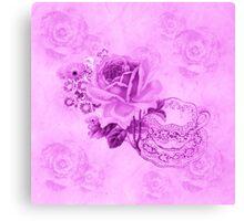 Pink Vintage Teacup & Flowers  Canvas Print