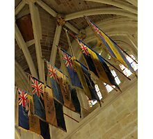 British Legion Flags, Exeter Cathedral, Devon Photographic Print