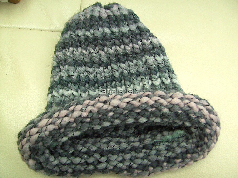 Roll brim hand knit wooly hat in grey and pink stripes by anaisnais