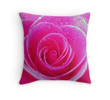 Pink Rose with Dew Drops Throw Pillow