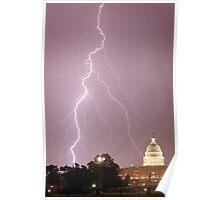 US Capitol Building - Lightning Poster