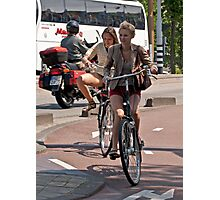 Two Girls on Bicycles Photographic Print