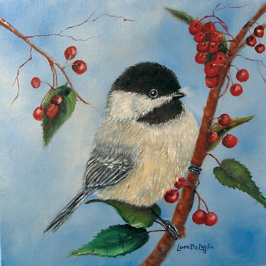 Black Capped Chickadee and Winterberries by Loretta Luglio