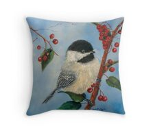 Black Capped Chickadee and Winterberries Throw Pillow
