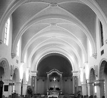 The Benedictine Sanctuary ~ Black & White by Lucinda Walter