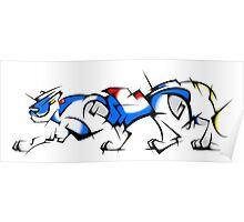 Blue Cubist Voltron Lion Poster