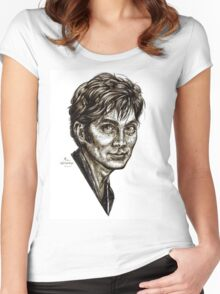 David Tennant - Doctor Who - Allons-y (Drawing) Women's Fitted Scoop T-Shirt
