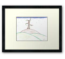 Rainy Day On One Tree Hill Framed Print